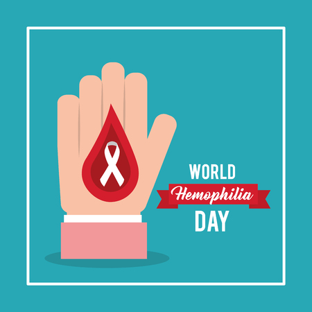 world hemophilia day card hand with blood drop ribbon vector illustration