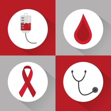 set of icons hemophilia blood campaing vector illustration