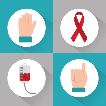 set of icons hemophilia blood campaing vector illustration