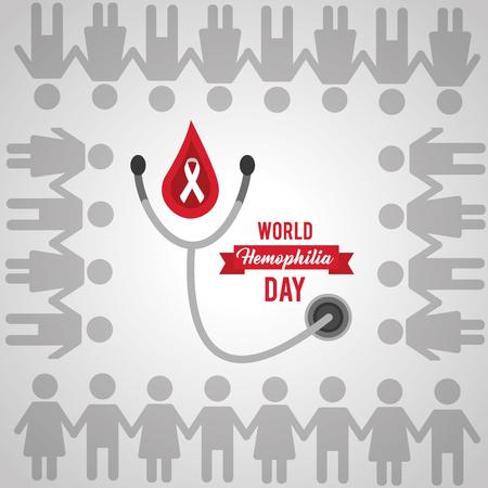 world hemophilia day people together unity vector illustration