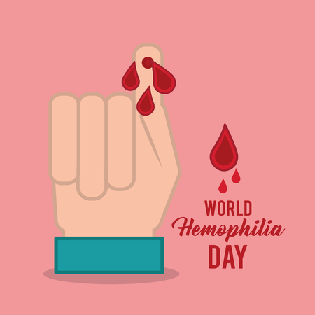 world hemophilia day hand finger with blood drops vector illustration