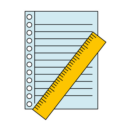 Sheet of notebook with ruler