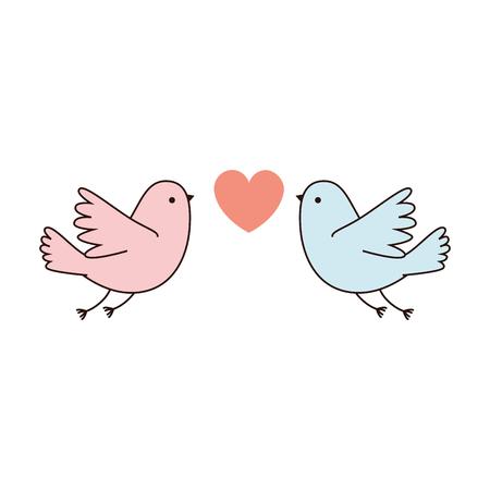 couple doves flying with heart vector illustration design Illustration