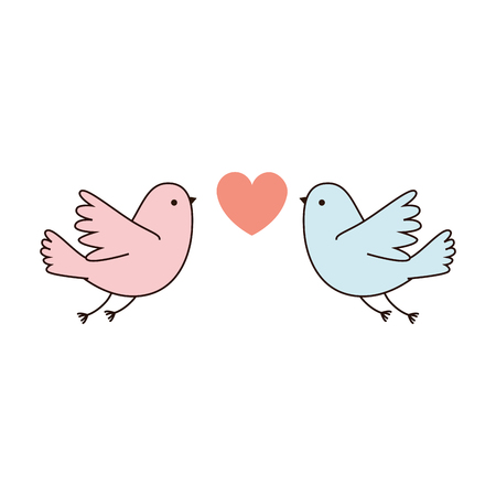 couple doves flying with heart vector illustration design Illusztráció
