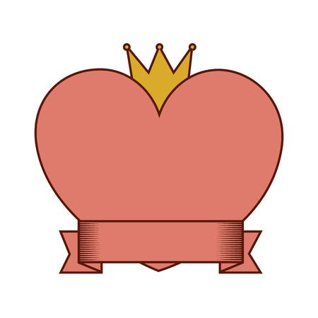 Amore del cuore con progettazione dell'illustrazione di vettore della corona e del nastro Archivio Fotografico - 94889796