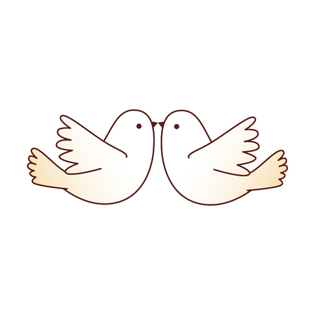 couple doves flying icon vector illustration design