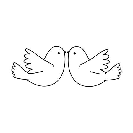 カップル鳩飛ぶアイコンベクトルイラストデザイン