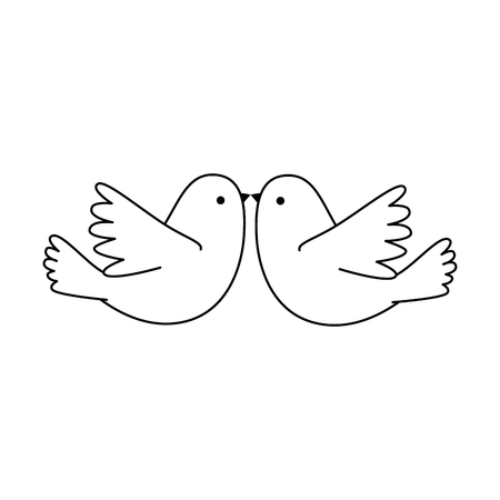 Couple doves flying icon vector illustration design Ilustração