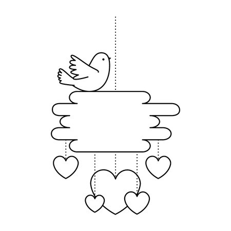Hearts love card with bird vector illustration design.