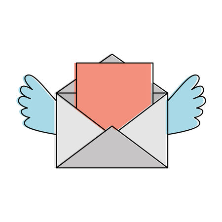 Love envelope with heart and wings vector illustration design