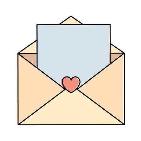 Enveloppe d'amour avec coeur carte icône vector illustration design Banque d'images - 94890512