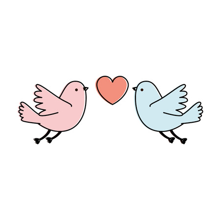 Couple pigeons flying with heart vector illustration design.