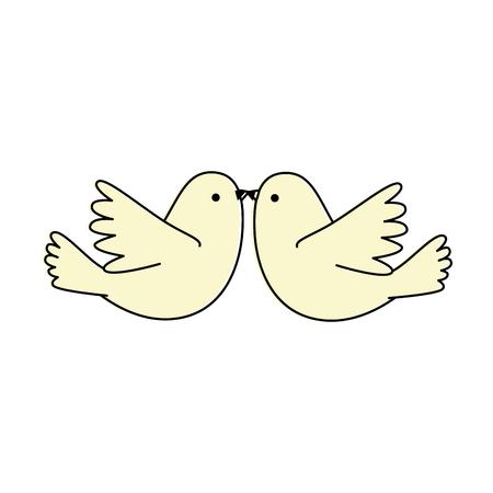 カップル鳩飛ぶアイコンベクトルイラストデザイン 写真素材 - 94912016