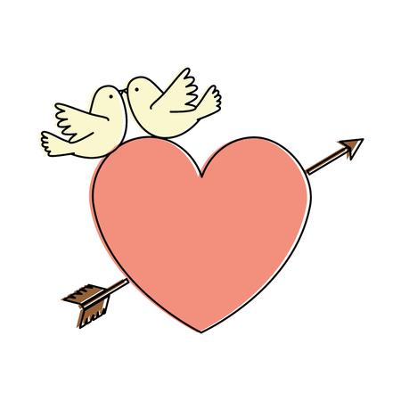 heart with arrow and doves vector illustration design Иллюстрация