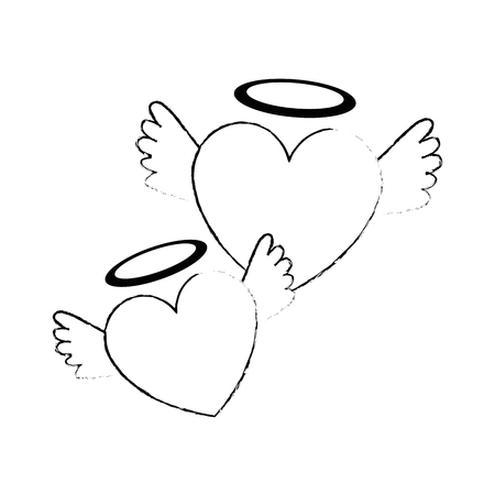 hearts love with wings and halo vector illustration design