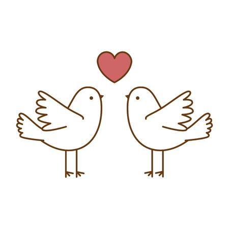 심장 벡터 일러스트 디자인으로 비행하는 몇 비둘기