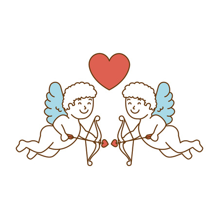 Cupid angels with heart vector illustration design