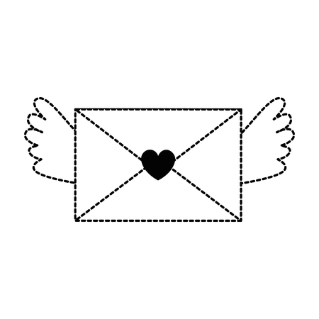 Love envelope with heart and wings vector illustration design Stock Vector - 94918538