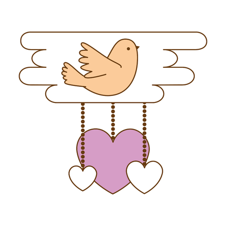 Hearts love card with bird vector illustration design