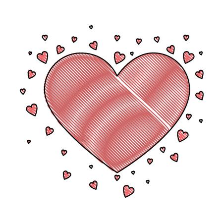 hearts love card icon vector illustration design Ilustração