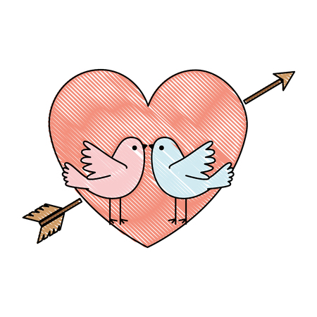 heart with arrow and doves vector illustration design Illustration