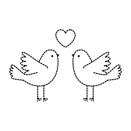 couple doves flying with heart vector illustration design Ilustração