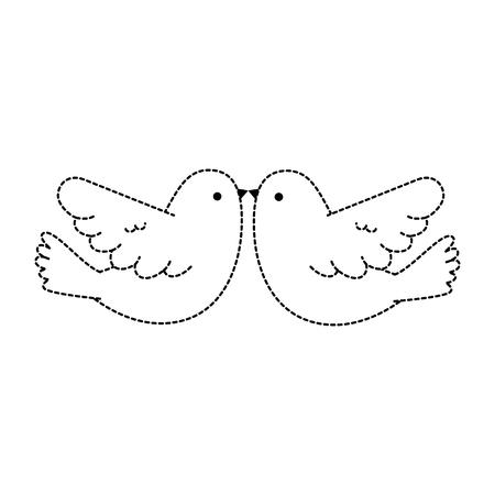벡터 일러스트 레이 션 디자인 비행 커플 비둘기