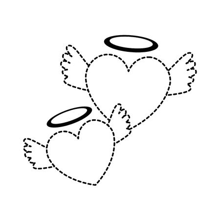harten liefde met vleugels en halo vector illustratie ontwerp Stock Illustratie