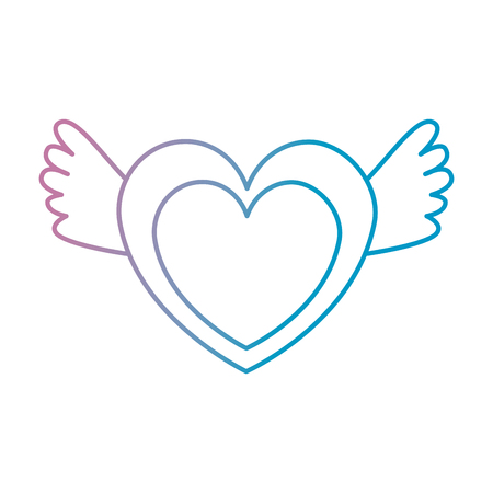 hart liefde met vleugels vector illustratie ontwerp