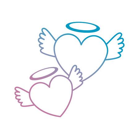 Herzen Liebe mit Flügeln und Halo Vektor-Illustration Design Standard-Bild - 94941539