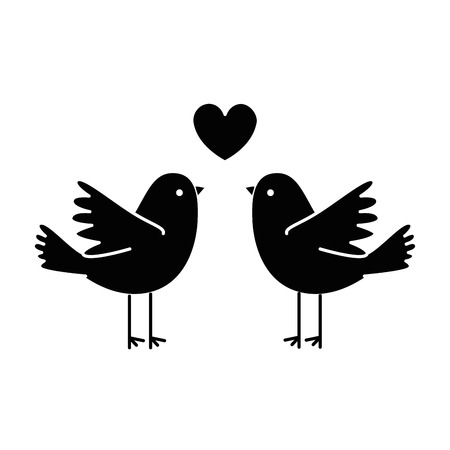 couple doves flying with heart vector illustration design  イラスト・ベクター素材