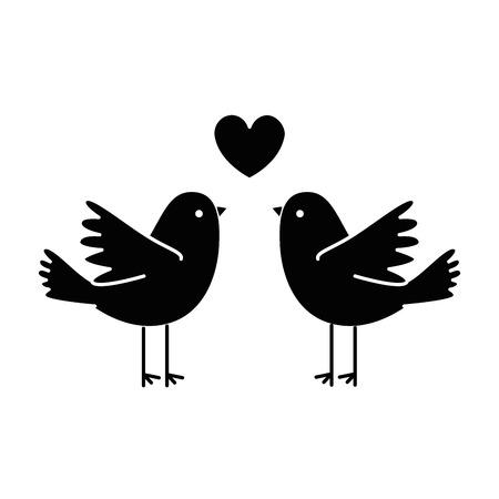 couple doves flying with heart vector illustration design Stock Illustratie