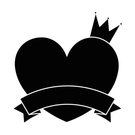 Amore del cuore con progettazione dell'illustrazione di vettore della corona e del nastro Archivio Fotografico - 94912747