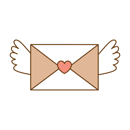 love envelope with heart and wings vector illustration design Illustration