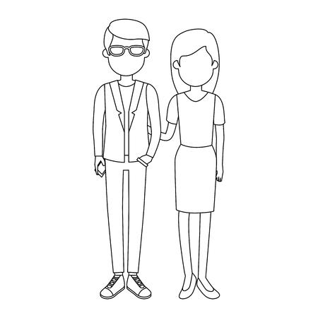 lovers couple avatars characters vector illustration design Illustration