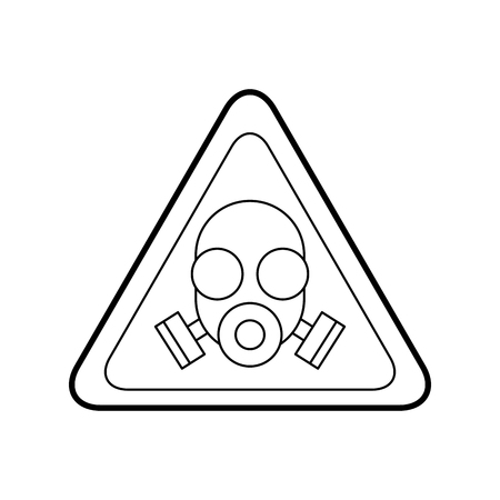 Vorsichtsignal mit Labormaske lokalisiertem Ikonenvektor-Illustrationsdesign Standard-Bild - 94913453