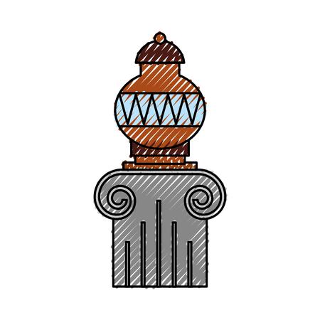 Old museum vase on column vector illustration design