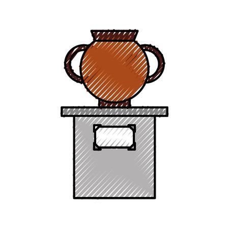 柱ベクトルイラストデザインの古い博物館の花瓶  イラスト・ベクター素材