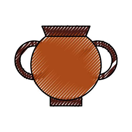 古い博物館の花瓶アイコンベクトルイラストデザイン