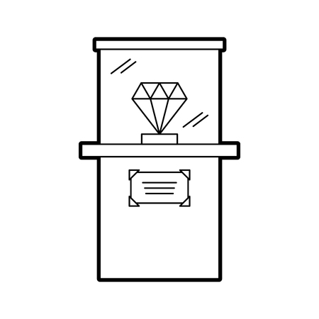 Diamond in a glass case icon vector illustration design