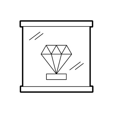 Diamond in a glass case icon vector illustration design
