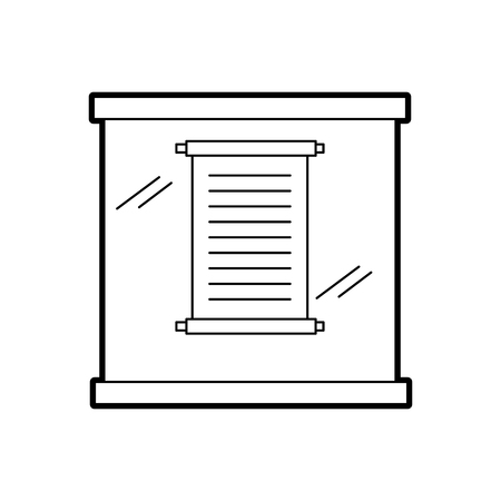 Papyrus scroll in an urn glass vector illustration design