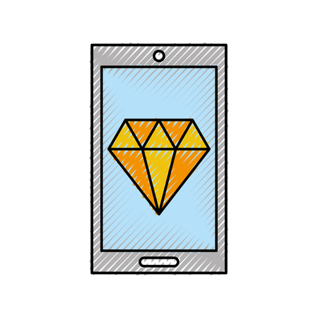 smartphone with luxury diamond isolated icon vector illustration design