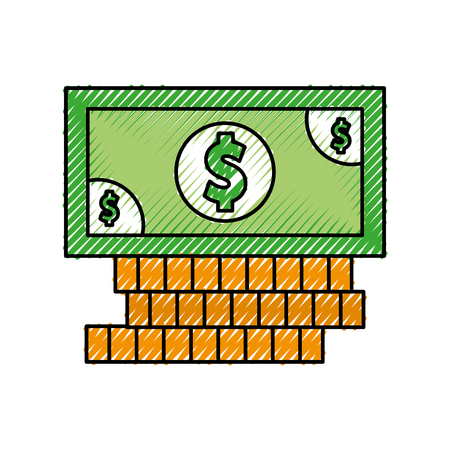 동전과 지폐 돈 격리 아이콘 벡터 일러스트 디자인 일러스트