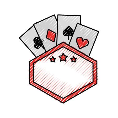 label with poker cards vector illustration design