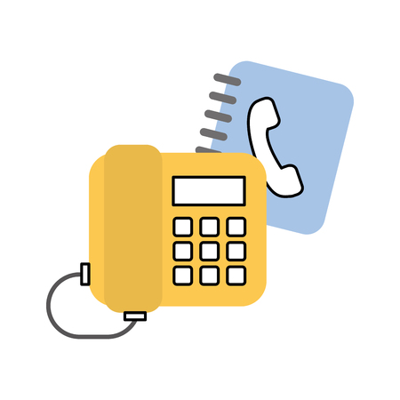 office telephone with phone agend vector illustration design Illustration