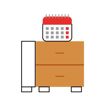 Cassetto dell'ufficio con progettazione dell'illustrazione di vettore del calendario Archivio Fotografico - 94921480