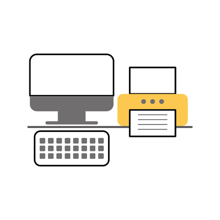 office printer with computer vector illustration design