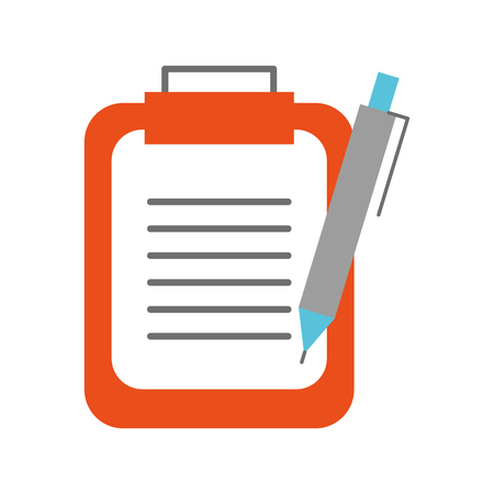 clipboard with office pen isolated icon vector illustration design Çizim
