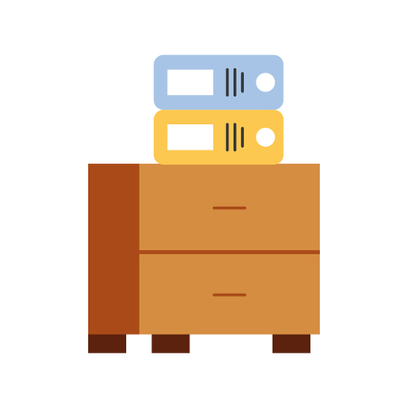 office drawer with file books vector illustration design